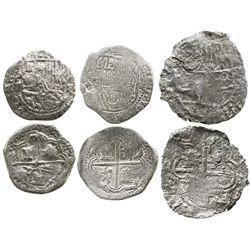 Lot of 3 Potosi, Bolivia, smaller cobs of Philip III (assayers not visible): one 4R no Grade (Grade-