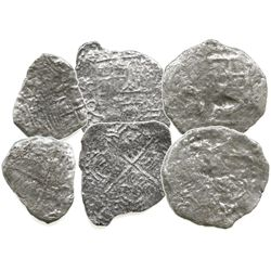Lot of 3 Potosi, Bolivia, silver cobs (two 8R and one 4R), Philip III, assayers Q or not visible, al