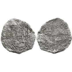 Cartagena, Colombia, cob 8 reales, 16(22)A, mintmark RN to left, rare, probably Grade 2 but tag and