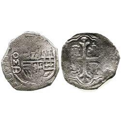 Mexico City, Mexico, cob 2 reales, Philip III, assayer not visible, Grade 2.