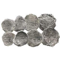 Lot of 4 Mexico City, Mexico, cobs (one 8R, two 4R and one 2R), Philip III, assayers F or not visibl