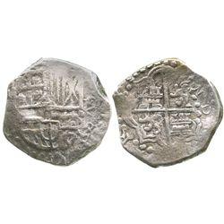 Potosi, Bolivia, cob 8 reales, Philip III, assayer not visible, Grade 1.