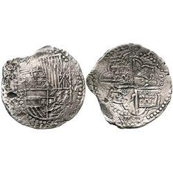 Potosi, Bolivia, cob 8 reales, Philip III, assayer R (curved leg), choice Grade 2.