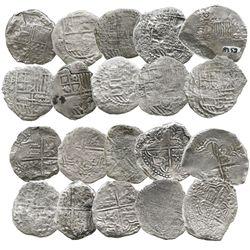 Lot of 10 Potosi, Bolivia, cob 8 reales, Philip II and III, assayers B, R, Q or not visible, Grade 3
