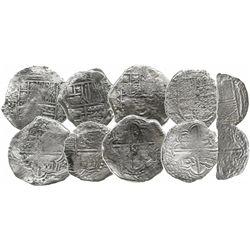 Lot of 5 Potosi, Bolivia, cob 8 reales, Philip III, assayers R, Q or not visible, Grades 1, 2 and 4,