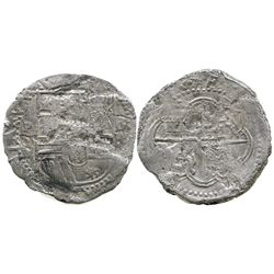 Potosi, Bolivia, cob 4 reales, Philip II, assayer B (3rd period), Grade 3, with Edward J. Little sig