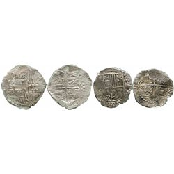 Lot of 2 Potosi, Bolivia, cobs of Philip III (assayers not visible): one 8R Grade 3 (Grade-2 quality