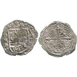 Mexico City, Mexico, cob 1 real, Philip III, assayer F, rare denomination and provenance.
