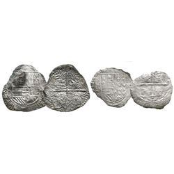 Lot of 2 silver cob 4 reales: Mexico City, Mexico, Philip II, assayer O; and Potosi, Bolivia, Philip
