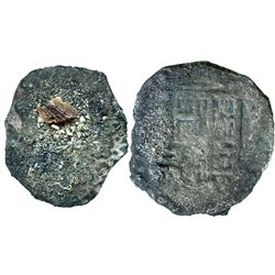 """Lot of 2 encrusted (as found) """"blackie"""" cob 8R of Mexico City, Mexico, Philip IV, assayers not visib"""