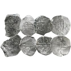 Lot of 4 Mexico City, Mexico, cob 4 reales, Philip IV, assayer D (where visible).