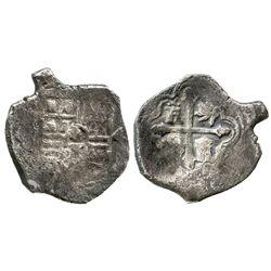 Mexico City, Mexico, cob 4 reales, Philip IV, assayer not visible (P), unusual shape.