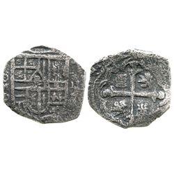 Mexico City, Mexico, cob 2 reales, Philip IV, assayer P, rare mint for this wreck.