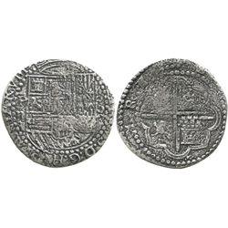 Lima, Peru, cob 2 reales, Philip II, assayer Diego de la Torre, P-ii to left, oD-* to right, rare mi