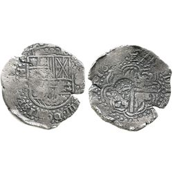 Potosi, Bolivia, cob 8 reales, 16(4)9Z, with crowned-.G. countermark on cross (rare).