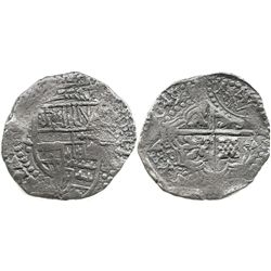 Potosi, Bolivia, cob 8 reales, (1)649Z, with arms countermark on cross.