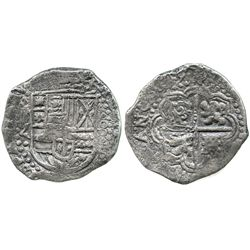 Potosi, Bolivia, cob 8 reales, (16)49Z, with crowned-? countermark on cross.