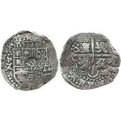 Potosi, Bolivia, cob 8 reales, Philip IV, assayer Z, with rare variety of crown-alone countermark on
