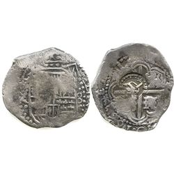 Potosi, Bolivia, cob 8 reales, 164(?)Z, date at 7 o'clock, with crowned-L countermark on cross.