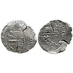 Potosi, Bolivia, cob 8 reales, Philip IV, assayer Z, with crowned-backwards-L countermark on cross (