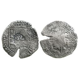 Potosi, Bolivia, cob 8 reales, (16)4(9)O, with crowned-A countermark on shield (very rare).