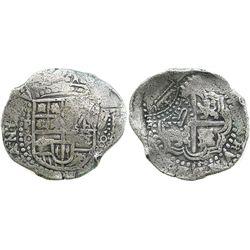 Potosi, Bolivia, cob 8 reales, (1649)O, with 2 countermarks (very rare) on cross: arms and rare vari