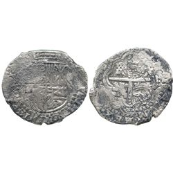 Potosi, Bolivia, cob 8 reales, (1649)O, with two countermarks on cross (rare): crowned T and crowned
