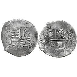 Potosi, Bolivia, cob 8 reales, (16)49O, with arms countermark on cross.