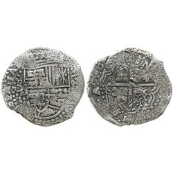 Potosi, Bolivia, cob 8 reales, (1649)O, with crowned-? countermark on cross.