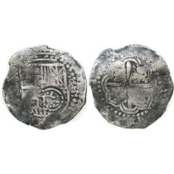 Potosi, Bolivia, cob 8 reales, Philip IV, assayer not visible (pre-1650), with crowned-.T. counterma