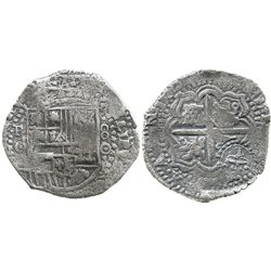 Potosi, Bolivia, cob 8 reales, 1650O, with crowned-script-L countermark on cross (very rare).