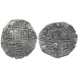 Potosi, Bolivia, cob 8 reales, 1650O, with crowned-S countermark on cross.