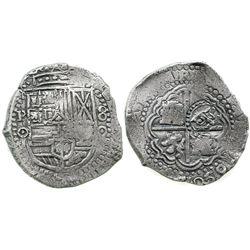 Potosi, Bolivia, cob 8 reales, 165/40O, date at 5 o'clock, with crowned-O countermark on cross.
