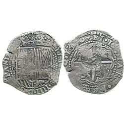 Potosi, Bolivia, cob 8 reales, 1650O, with crowned-dot countermark on cross (unique and unlisted).