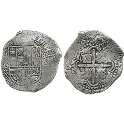 Potosi, Bolivia, cob 8 reales, (165)0O, no countermark (rare).