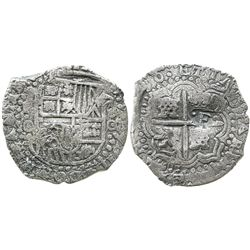 Potosi, Bolivia, cob 8 reales, (16)50O, with crowned-.F. countermark on cross (very rare, as usually