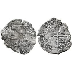 Potosi, Bolivia, cob 8 reales, 1650O, with pentagonal crowned-1652 countermark on cross, rare.