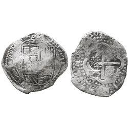 Potosi, Bolivia, cob 8 reales, (16)50O, with unidentified countermark (unique) on cross.