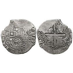 Potosi, Bolivia, cob 8 reales, 1(650)O, with crown-alone countermark on shield.