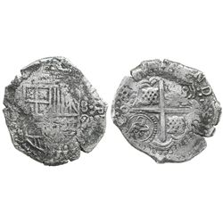 Potosi, Bolivia, cob 8 reales, (1650)O, with crowned-L countermark on cross.