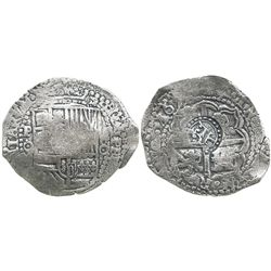 Potosi, Bolivia, cob 8 reales, 165(1)O, with crowned-T (within border of dots) countermark on cross