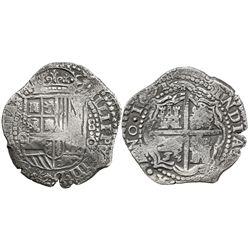 Potosi, Bolivia, cob 8 reales, 1651O, no countermark (rare).