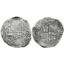 Potosi, Bolivia, cob 8 reales, 1651O, with arms countermark on cross.