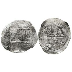 Potosi, Bolivia, cob 8 reales, (1650-1)O, with crowned-? countermark on cross.