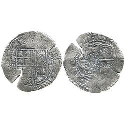 Potosi, Bolivia, cob 8 reales, (165)1E, with pentagonal crowned-1652 countermark on cross (rare).