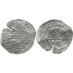 Potosi, Bolivia, cob 8 reales, 165(1)E, modern 5, with crowned-PH countermark on cross.