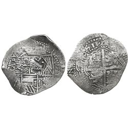 Potosi, Bolivia, cob 8 reales, 1651E, with 2 countermarks (very rare): crowned-.F. and crowned-? on
