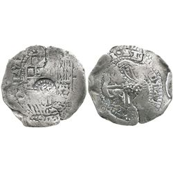 Potosi, Bolivia, cob 8 reales, (165)1E, with 2 countermarks (very rare): crown alone on shield and a