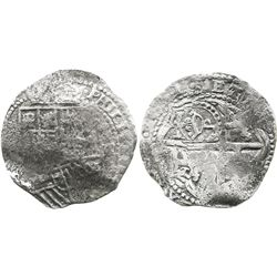 Potosi, Bolivia, cob 8 reales, 1651, assayer not visible, with crowned-P countermark on cross (very