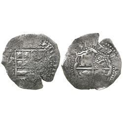 Potosi, Bolivia, cob 8 reales, 1651E, with crowned-? countermark on cross.